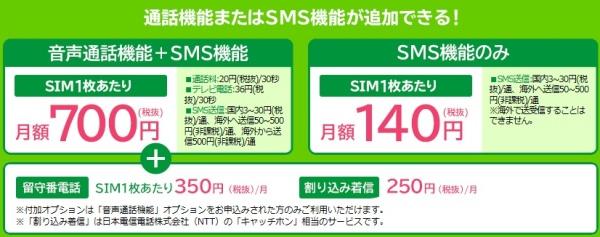 エキサイトモバイルの音声通話オプション料金